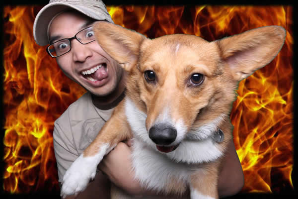 The original green screen image with a fire background